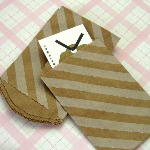 20 Mini Kraft Paper Bags White Diagonal Stripe Print 2 3/4 x 4 inches