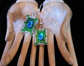 Blue dichroic glass bling earrings with green and silver beads