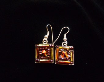 Amber red dichroic glass mosaic earrings