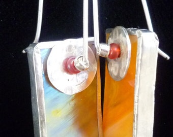 Irridized stained glass earrings orange reflecting blue and gold