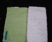Green Striped Chenille burp cloth