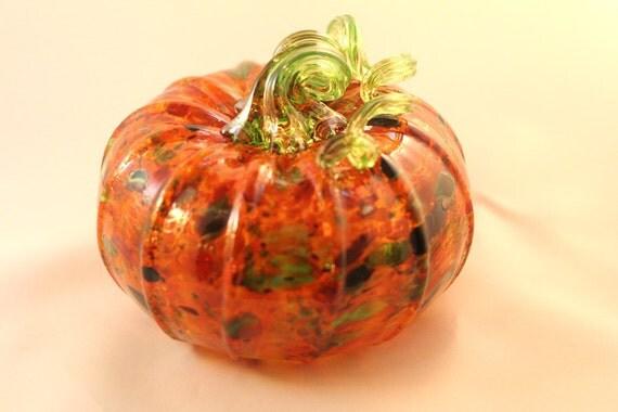 Glass Pumpkin.  Hand Blown Glass.  Holiday Centerpiece or Decor.  Made in Seattle.  Artist Dehanna Jones.