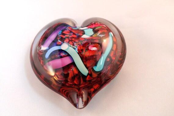 Valentine Red Heart - Murano-style suncatcher, paperweight, home decor