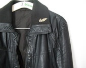 LEATHER JACKET black vintage 70ies / 80ies