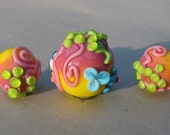 "Handmade lampwork glass bead set ""Summertime"" in yellow, pink, green and blue by Flamejewels."