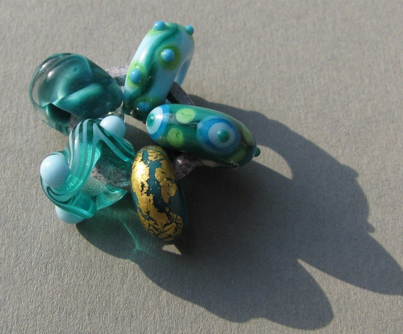 5 handmade lampwork Pandora-style beads in blue, green, turquoise by Flamejewels.