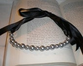 Pearl Ribbon Necklace- Black and Silver
