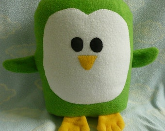 Plush Green Penguin Pillow Pal, Baby Safe, Machine Wash and Dry