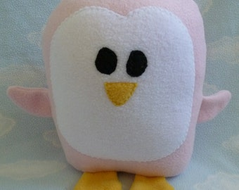 Plush Pale Pink Penguin Pillow Pal, Baby Safe, Machine Wash and Dry