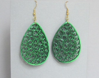 Quilled Earrings, Metallic Green on Green, Paper Filigree