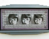 mixed media art - Louise Brooks - art deco frame, 1920 flapper, old hollywood glamour, roaring twenties, silver, lilac, charcoal gray - inthecrystalpalace