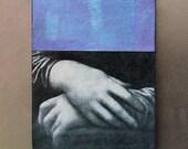 fridge magnet - Mona Lisa - hands, blue, purple, original collage art, unique kitchen decor