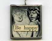 unique jewelry collage angel pendant - Be Happy and Sing
