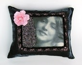 beaded pillow - Wild Rose (Evelyn Nesbit) - Gibson Girl, beautiful girl, muse, smile, gray, pink and black, grey velvet pillow, pink rose