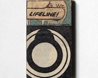 fridge magnet - Lifeline - comic book art, target, bullseye, circular, original collage art, kitchen art