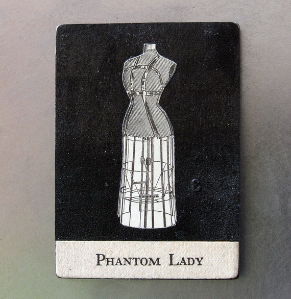 fridge magnet - Phantom Lady - ghost, goth art, dark art, scary, surreal, original collage art