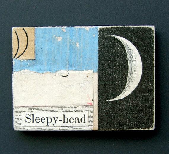 fridge magnet - Sleepy Head - sweet dreams, crescent moon, stars, sleep, bedtime, blue, nursery art, original collage art