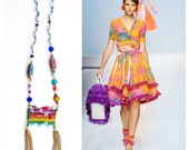 Sale- Iluminada, Rainbow Beaded Tassel Necklace - One of a Kind - Free Shipping U.S.