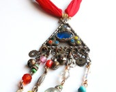 Sale- Zeliha, Antique Gauze Scarf with Turkish Pendant and Beaded Dangles Necklace -  One of a Kind - Free Shipping U.S.