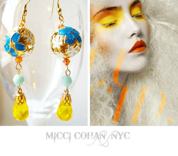 Filigree and Swarovski Crystal Golden Yellow and Blue Beaded Earrings - One of a Kind - Free Shipping U.S.