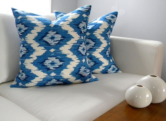 Two Pillow Covers - Ikat Blue - 18x18 inches - Pillow Shams - Ready to ship - Interior Designer - Throw Pillow Covers