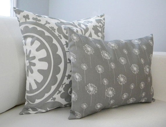 Lumbar Pillow - Storm Gray with White Dandelions - 12x16 - Throw Pillows by Peppercorn Elvis