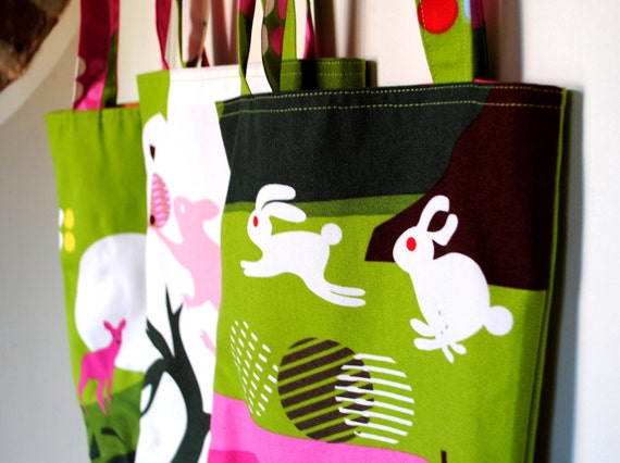 Handmade Tote Shoulder Bag in Ikea Annamoa Jumping Bunnies Print Canvas Fabric