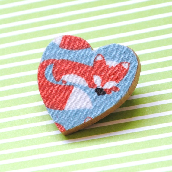 Fabric Covered Wooden Decoupage Heart Brooch - Anika Fox Fabric
