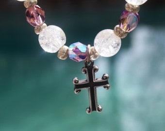 Cross Bracelet Sterling Silver Cross Charm with Crackle Glass and Czech Crystals