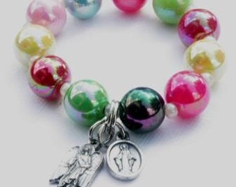 Stretch Bracelet in Colorful Beads with Gaurdian Angel and Miraculous Medal Charms