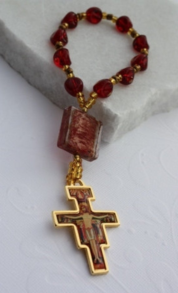 Decade Rosary Tenner Rosary Pocket Rosary  with a San Damiano Crucifix