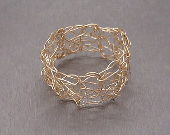 Crocheted Gold Ring Crochet Band Goldfilled Wire