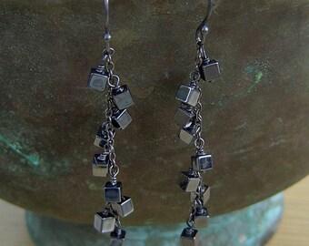 Grey Polished  Hematite Oxidized Sterling Silver Dangle Earrings