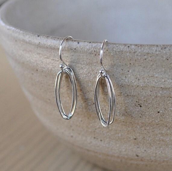 Small Simple Sterling Silver Wire Oval Linear Earrings