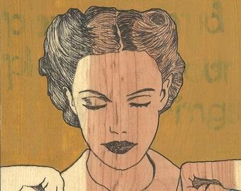 print of 50's era woman