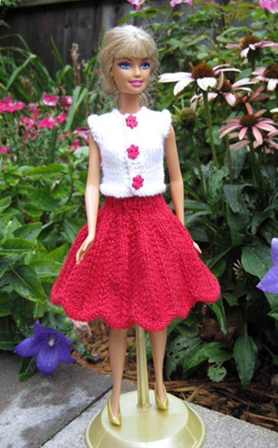 Red  Patterned Skirt with Scalloped  Edge Detail and  White Top with Snaps that Undo for Barbie Dolls or Similar 11 & half inch Dolls
