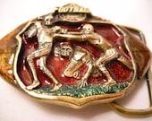 Sports Football Belt Buckle Enameled Brass Football Belt Buckle Football Players Belt Buckle