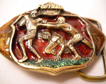Vintage Sports Football Belt Buckle/Enameled Brass Football Belt Buckle/Football Players Belt Buckle