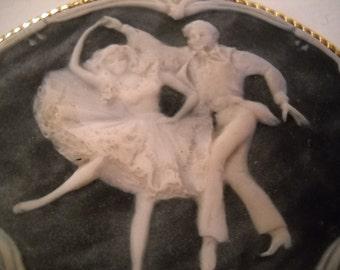 Vintage Dancing Partners Belt Buckle/Incolay Stone Dancers Belt Buckle