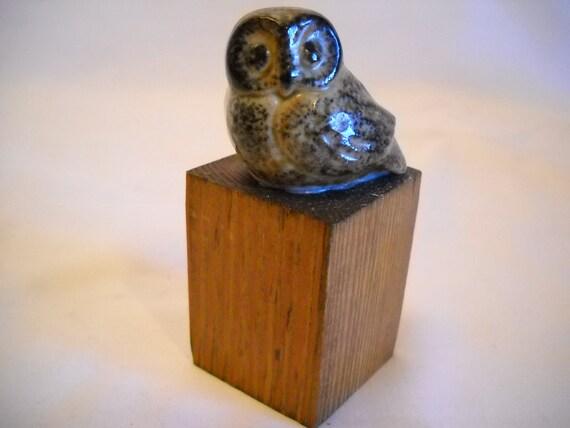 Vintage Miniature Owl Figurine On Wood Block Late 60s