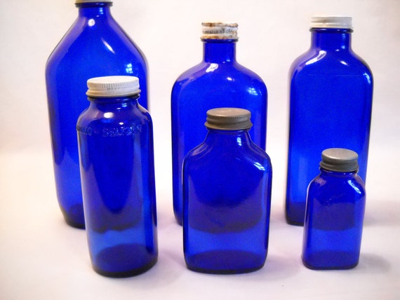 Vintage Medicine Bottles Cobalt Blue Instant Collection