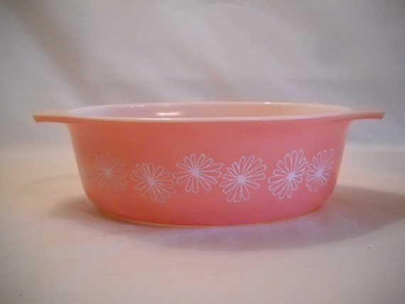 Vintage Pyrex Pink Daisy Casserole Dish
