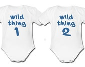 Wild Thing 1, Wild Thing 2 Set of Baby Vests Bodysuits for Twins