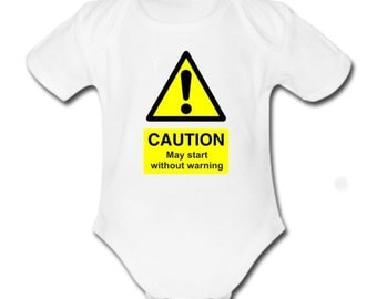 Caution, May Start Without Warning Baby Vest Bodysuit for Baby