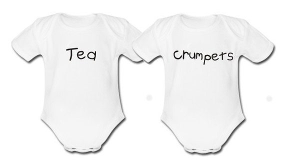 Tea & Crumpets Set of Baby Vests Bodysuits for Twins