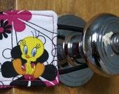 Door Jammer, Door Quieter, Door Husher, Silent Door Closer, Latch Quieter - Tweetie Bird & Flowers - Free standard shipping in the US