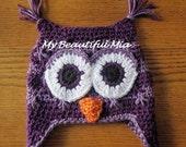 Owl Earflap Hat - Child to Preteen - Photo Prop