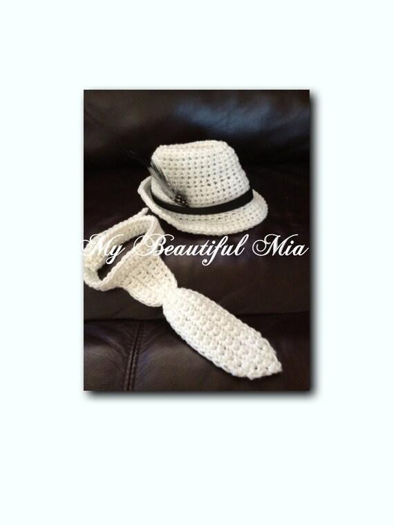 Crochet Fedora/ Necktie - Photo prop - 6 to 9 Months