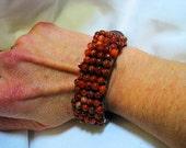 Agate Beaded Leather Cuff Bracelet