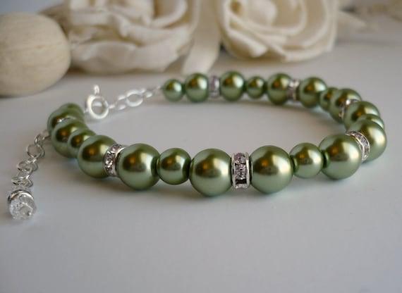 Light Olive Pearl Bracelet, Light Olive Wedding Bridal Bridesmaid Bracelet, Light Olive Green Pearl Bracelet with Rhinestone and Extender